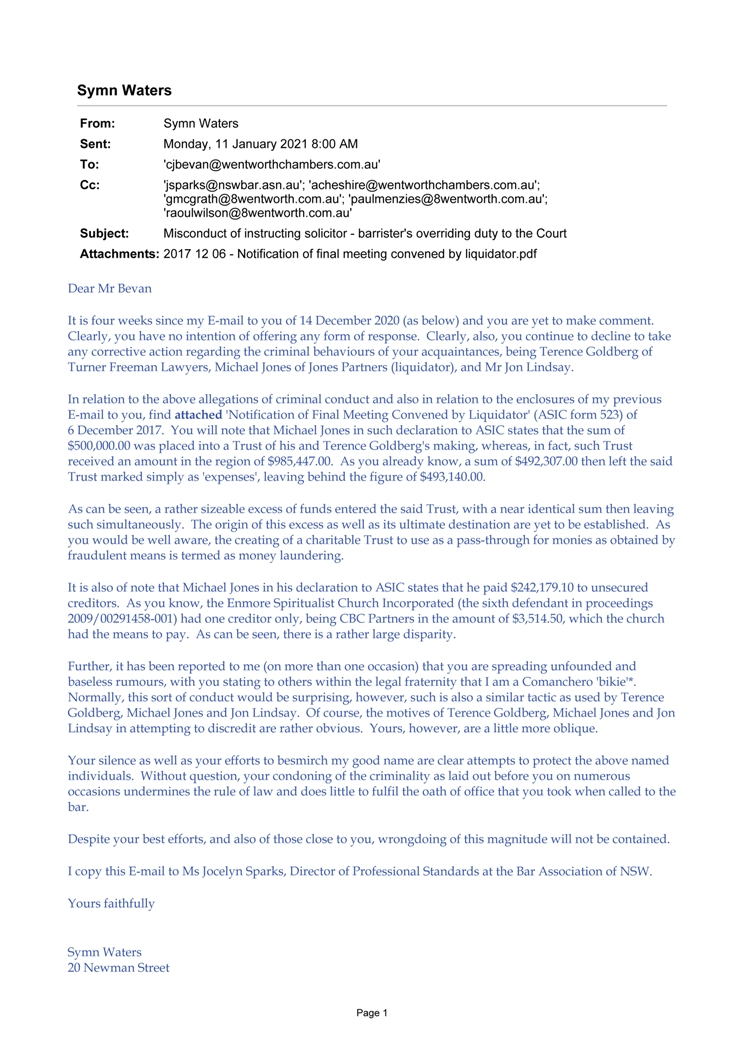 2021 05 05 - Letter to the Hon Tom Bathurst, Chief Justice - mistrust in institutions-5